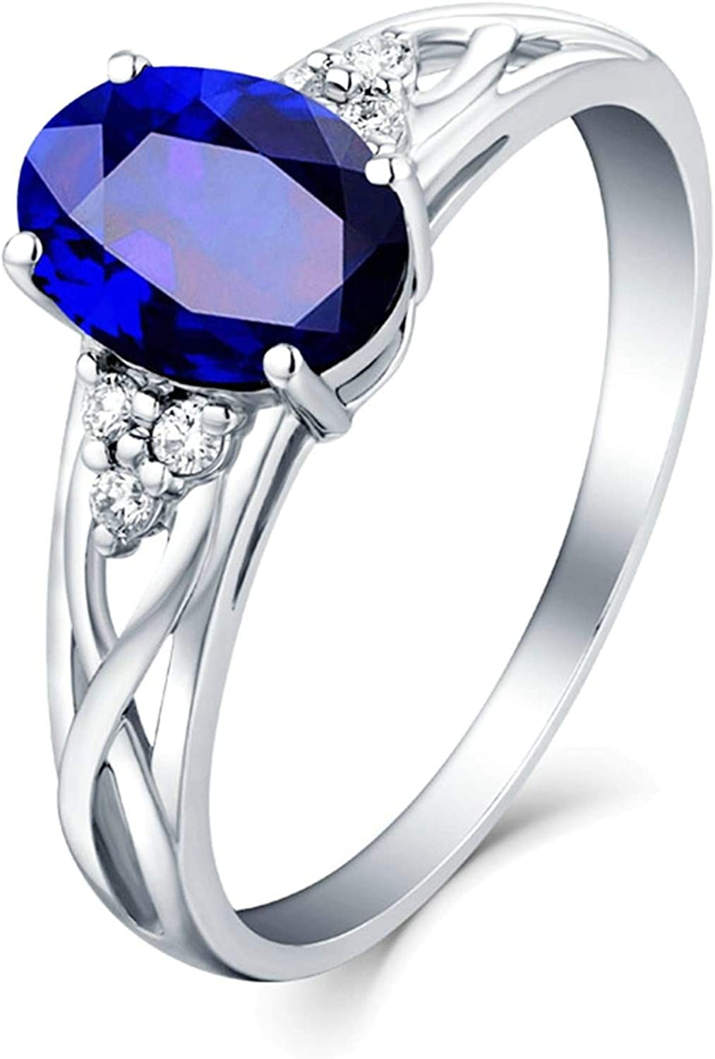Epinki Women 18K Today's only White Gold 4 St Columbus Mall Sapphire Oval Claws 0.41ct Ring