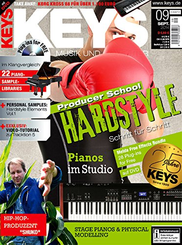Keys 9 2014 mit DVD - Producer School Hardstyle Schritt für Schritt - Klangvergleich Piano Sample Libraries - Personal Samples - Free Loops - Audiobeispiele