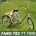 """RMAN Dreirad Für Erwachsene Erwachsenendreirad Fahrrad Mit 3 Rädern Seniorenrad Lastenfahrrad 24"""" Shimano 6-Gang-Schaltung,Silber"""