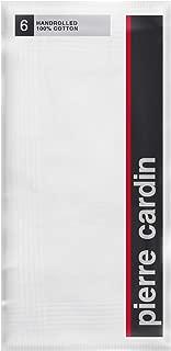 "Pierre Cardin Handkerchief White 100% Cotton 18"" x 18"" Satin Cord 6 Pack"