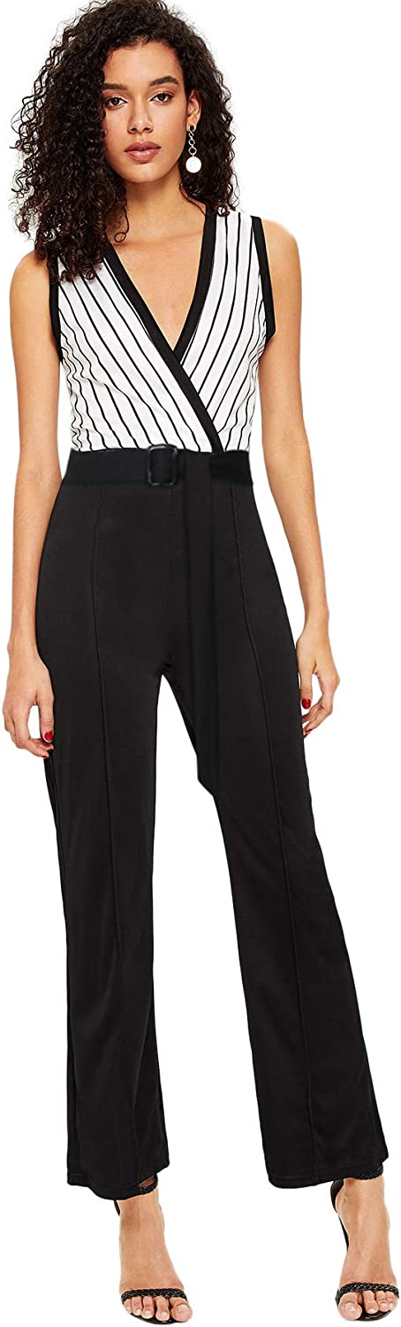 DIDK Women's Striped Panel Wrap V Neck Sleeveless Maxi Jumpsuit with Belt