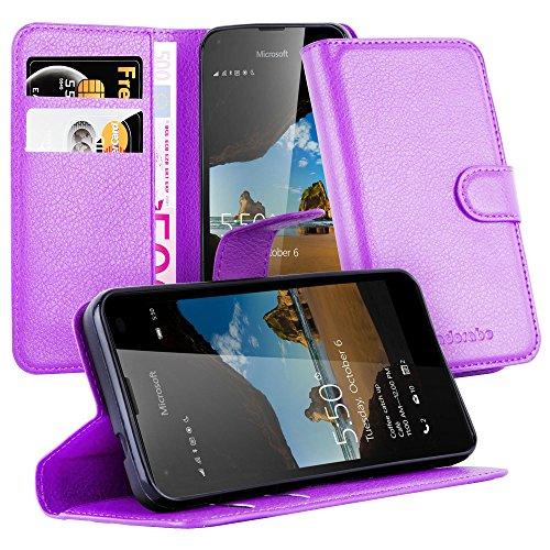 Cadorabo Hülle für Nokia Lumia 550 - Hülle in Mangan VIOLETT – Handyhülle mit Kartenfach und Standfunktion - Case Cover Schutzhülle Etui Tasche Book Klapp Style