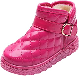Boy's Girl's Winter Warm Waterproof Outdoor Snow Boots PU Leather Shoes Ankle Bootie(Toddler/Little Kid/Big Kid)