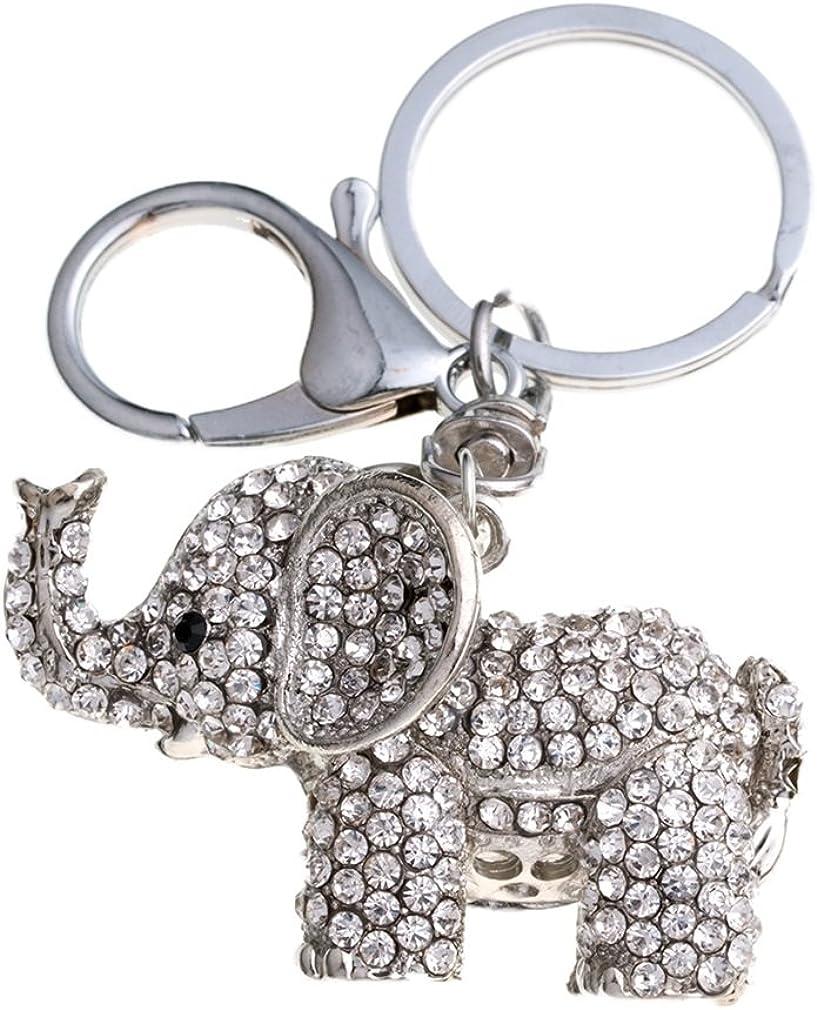 YAZILIND Keychains Lovely Elephant Shape Inlaid Rhinestone Bag Keyrings
