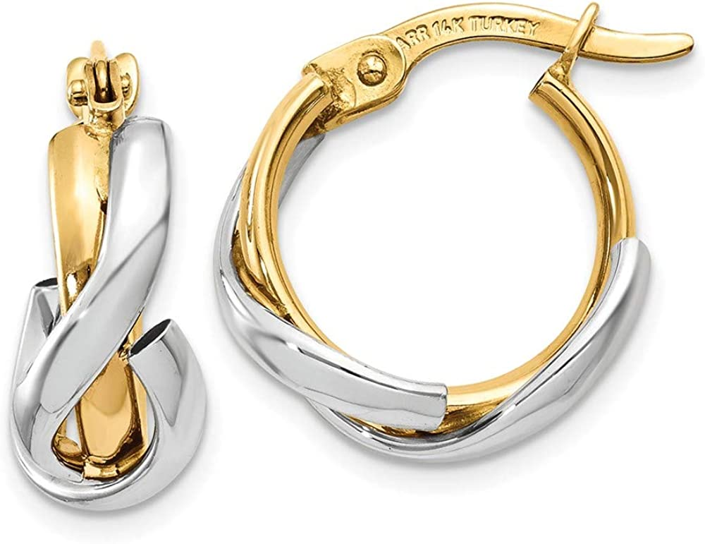 14k Two Tone Yellow Gold Hoop Earrings Ear Hoops Set Round Fine Jewelry For Women Gifts For Her