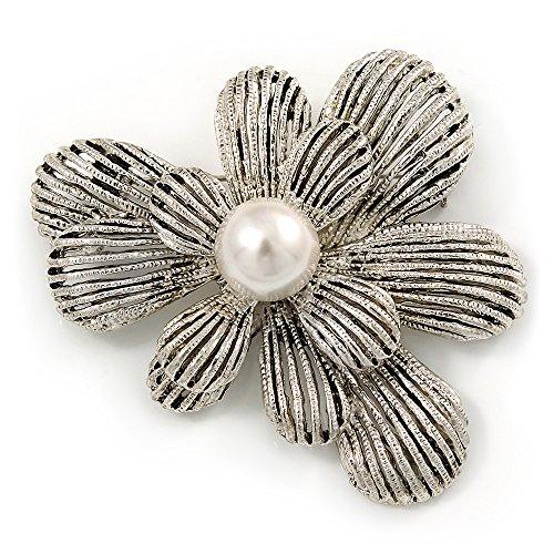 Avalaya - Broche flores textura capas metal, 60 mm