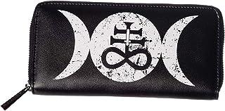Lost Queen Women's Triple Moon Occult Cross Zip Around Wallet Tempest Ladies Clutch