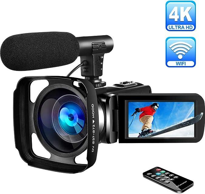 Videocámara 4K Videocamara Ultra HD WiFi Videocámara Digital con Micrófono Full HD 30.0MP Cámara de Video de Visión Nocturna 16X Zoom Digital Pantalla Táctil de 3.0 Pulgadas con Parasol