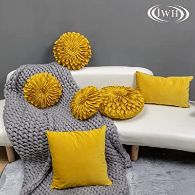 JWH 3D Sunflower Accent Pillow Cover Handmade Pillowcase Decorative Throw Pillow Cover Floral Pillow Case Home Bed Living Roo