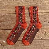 SUZNUO 5 Pares otoño Estilo Nacional Estampado de Flores Calcetines de Mujer Harajuku calcetín Vintage Moda Femenina Invierno cálido Regalos niñas