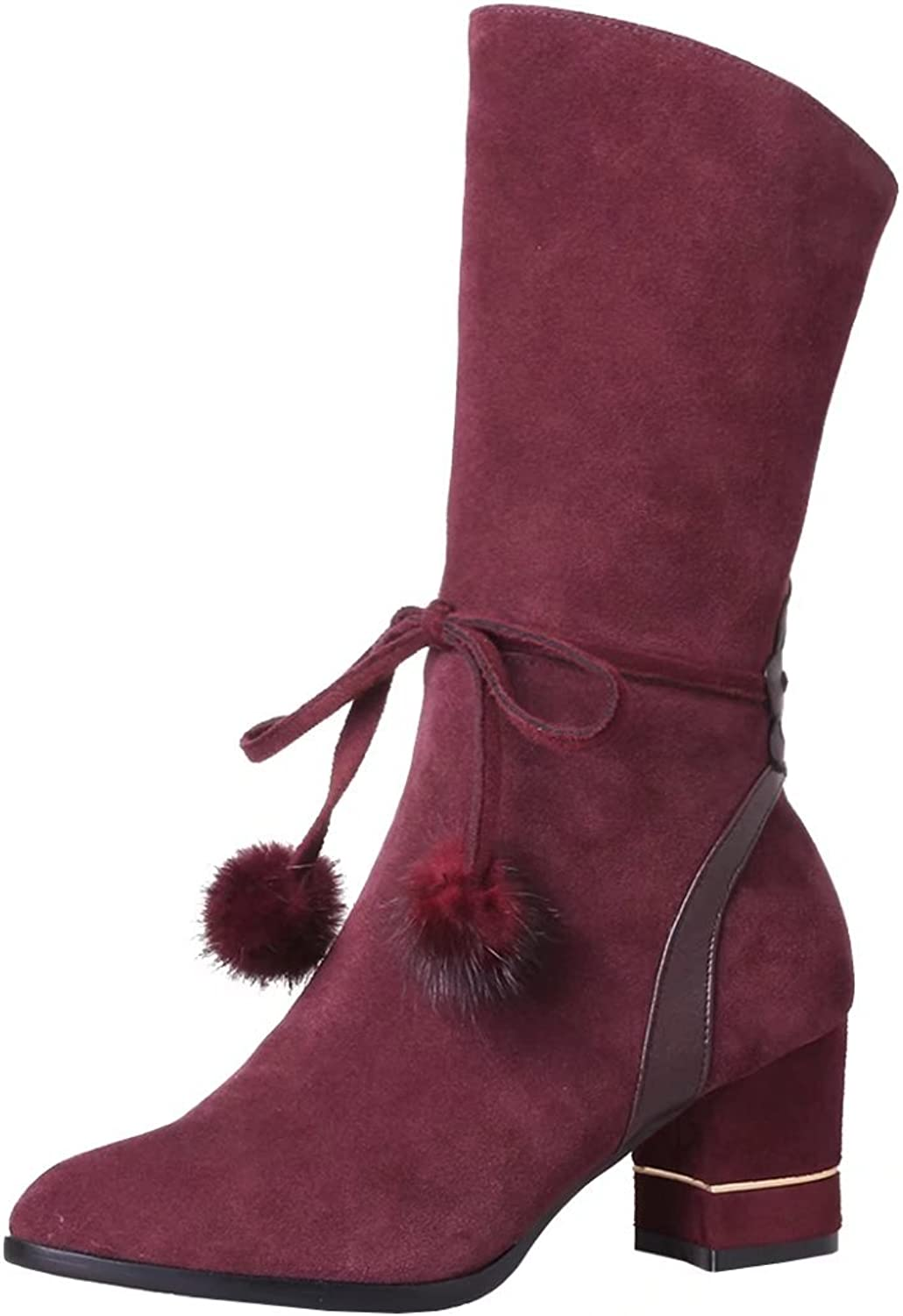 AIYOUMEI Women's Pointed Toe Block Heel Mid-Calf Boots with Fur Ball