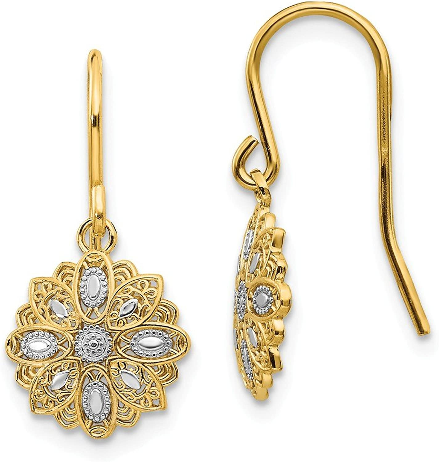 Beautiful rhodium plated gold and silver 14K rhodiumplatedgoldandsilver 14k & Rhodium Polished Fancy Dangle Earrings