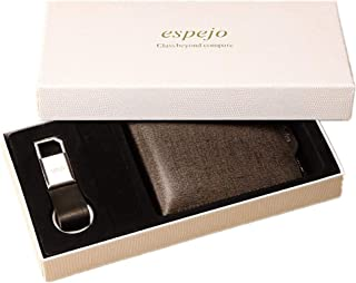Mens Classic Genuine Leather Wallet and Keychain Set Gift for Men