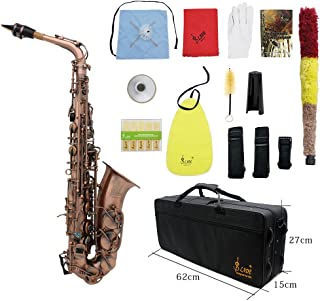 ammoon Antique Finish Bend Eb E-flat Alto Saxophone Sax Shell Key Carve Pattern with Case Cleaning Cloth Straps Brush (Style 2)