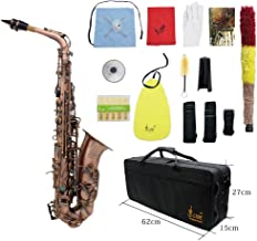 ammoon Antique Finish Bend Eb E-flat Alto Saxophone Sax Shell Key Carve Pattern with Case Gloves Cleaning Cloth Straps Brush (Style 2)