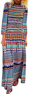 Womens Floral Printed Maxi Dress Casual Summer Sundress Long Boho Beach Dress Plus Size LONGDAY Short/Long Sleeve Top