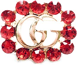 Women's Fashion Delicate Hollow-Out Crystal Brooch Alphabet Small Brooch