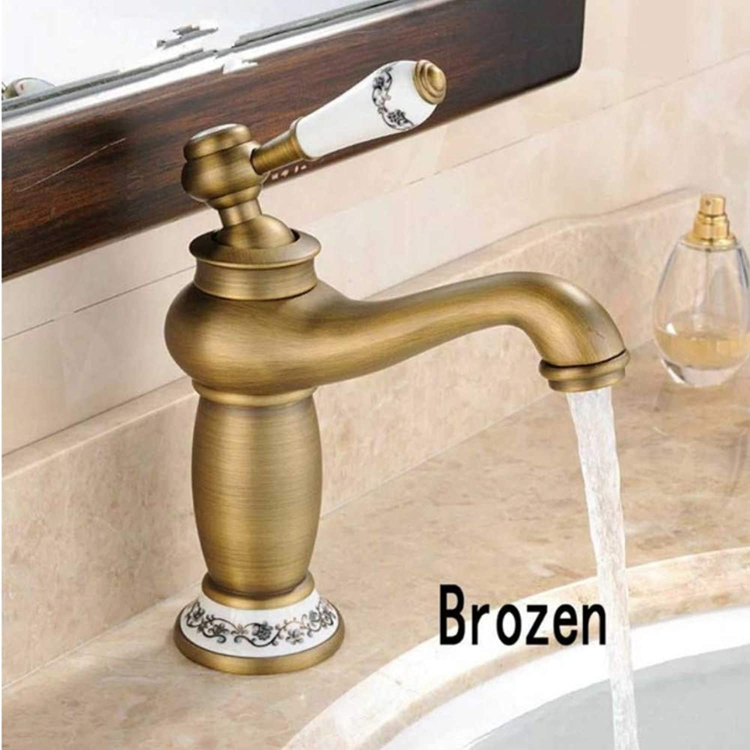 Lddpl Tap Bathroom Faucet Antique Bronze Brass Basin Sink Faucet Single Handle Water Tap