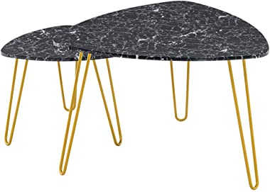 FRITHJILL Nesting Coffee Table Set of 2, Stacking End Side Tables Center Tables for Home Office,Easy Assembly,Black