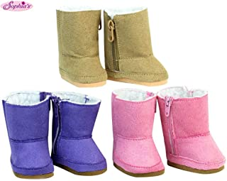 18 Inch Doll Shoe Pack Includes 3 Pairs of Boots: Tan, Pink & Purple Boots