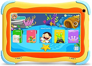 YUNTAB Kids 7 inch Tablet - 2019 Upgrade, Android 8.1 OS, Pre-Installed Kids Games, 1GB RAM 16 GB ROM, Premium Parent Control, GMS Certified, A50 Cortex-A7 Quad Core CPU, Protecting Angles (Yellow)
