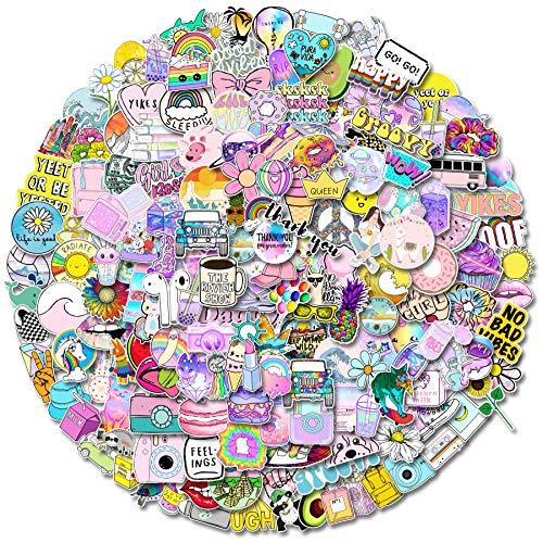 Pegatinas 200 piezas bonitas stickers para monopatín, ordenador portátil, botella de agua, teléfono, vinilo de viaje, paquete de pegatinas impermeables