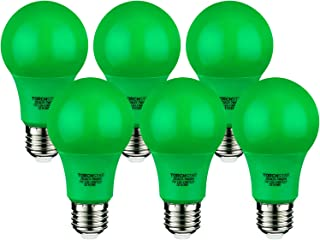 TORCHSTAR 7W Green LED A19 Colored Light Bulb, E26/E27 Base, for Independence Day, Veterans Day, Christmas, Holiday, 30,000hrs, Pack of 6