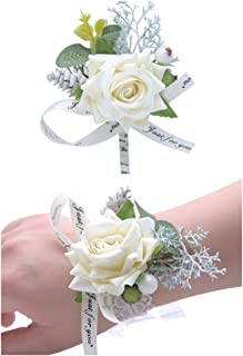 Flonding Wedding Wrist Corsage and Boutonniere Set Party Prom Hand Flower Suit Decor Creamy