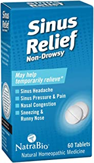 NatraBio Sinus Relief Homeopathic Formula   Temporary Relief from Sinus Headache & Pressure, Congestion, Sneezing & Runny Nose   Non-Drowsy   60 Tabs