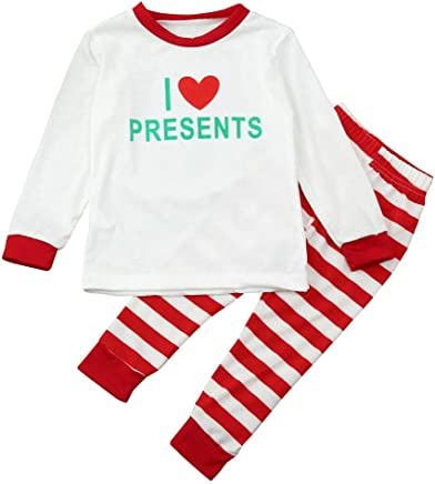 Family Matching Holiday Pajama Set,Kintaz Dad Mom Kids Baby I LOVE PRESENTS Long Sleeve