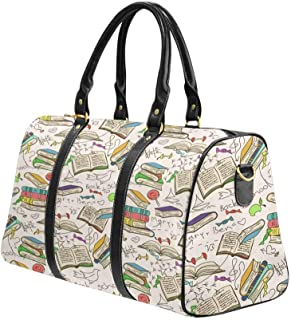 Weekender Bag Overnight Carry-on Tote Duffel Bag Comic Doodle Seamless Pattern Of Books