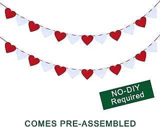 Felt Heart Garland Banner - NO DIY - Valentines Day Home Decor -Valentines Decorations - Valentines Hanging Banner-Valentines Party Decorations - White & RedColor