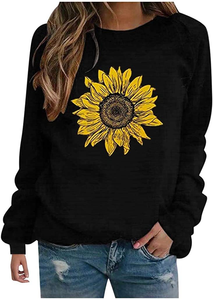 UOCUFY Long Sleeve Tops for Women, Womens Tunics Shirts Tops Long Sleeve Comfy Casual Crewneck Loose Pullover Tops