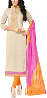 Applecreation Women'S Semi-Stitched Salwar Suit (Ivory, Mdl1003)