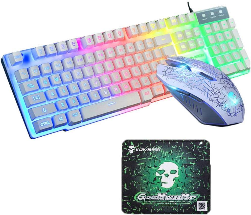 Axiba Waterproof Gaming Keyboard Mouse Sets USB Wired 104 Keys Skull Rainbow LED Backlit Multimedia Ergonomic Gamer Keyboard 2400DPI 6 Buttons Optical Professional Game Mice + Mouse Pad (Skull White)