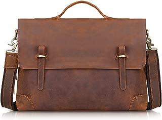 kattee men's leather briefcase messenger bag