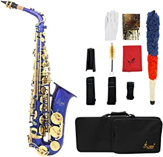 ammoon Eb E-Flat Alto Saxophone Brass Engraved Sax Abalone Shell Buttons with Case Gloves Cleaning Cloth Belt Brush