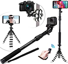 NEW HD Flexible Tripod & Selfie Stick 6-in-1 Kit w/ Bluetooth Remote – Best Video & Vlog Stand for Any Phone, GoPro or Camera: iPhone XR XS Max XS X 8 7 6 Plus, Samsung S10 S9, Hero 7, etc.