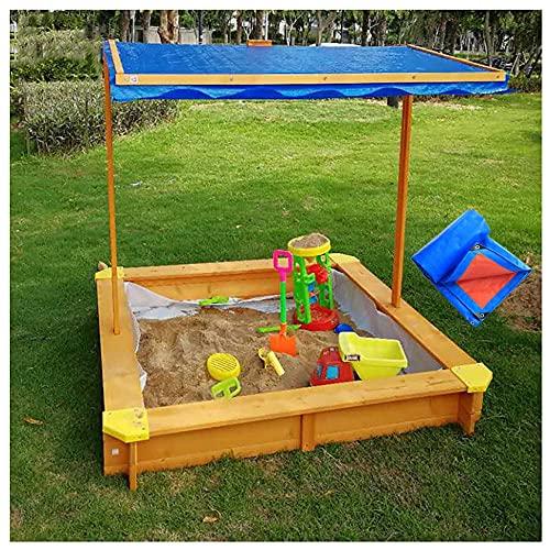 Areneros cuadrado Sandbox educación infantil Toldo regulable Anti-UV Protección solar contra lluvia madera natural resiste corrosión Juguetes playa jardín al aire libre del parque atracciones