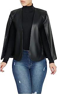 Aro Lora Women's PU Faux Leather Open Front Cape Cloak Poncho Slit Sleeve Short Jacket Coat Blazer