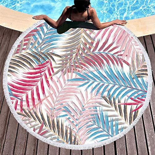 Vanzelu Sanddichtes, Sandfreies Strandtuch, Große Stranddecke Mit Runder Quaste Und Sommer-Schaldruck, 150 cm Blatt