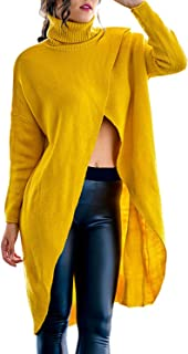 Slim Bloom Women's Plus Size Turtleneck Asymmetric Loose Chunky Cable Knit Pullover Sweaters