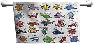 Baby Bath Towel Nautical Decor for Kids,Aquarium Cartoon Octopus Dolphin Shark Whale Clown Fish Jellyfish Crab Marine,Sand Free Towel for The Beach