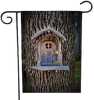 Jacrane Burlap Yard Flag 12.5X18 Inches Garden Yard Flags Small Fairy Door Carved into Tree Double-Sided Seasonal House Yard Flags Decorative
