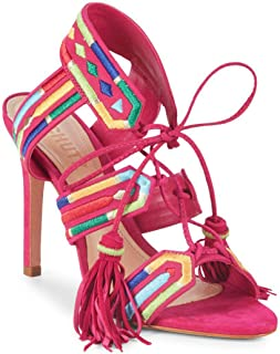 Eurica Bright Rose Multi Embroidered Lace-Up High Heel Stiletto Sandals