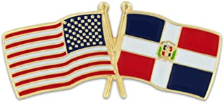 USA and Dominican Republic Crossed Friendship Flag Enamel Lapel Pin