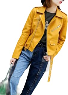 Macondoo Womens Outdoor Oblique Zipper Moto Coat Faux Leather Jackets