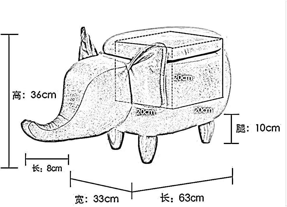 WHOJA L'éléphant Tabouret de Rangement Changer de Banc de Chaussures Espace de Rangement Cuir imperméable 63x33x36cm Ottomans (Color : Gray) Gray