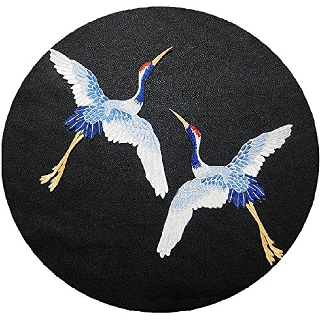 FJTANG Big Crane Sew On Patches for Clothing Applique Embroidery DIY Accessory Suppliers Stickers (Blue, Without Glue)