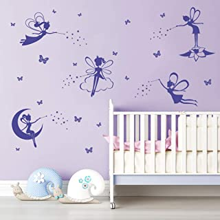 ufengke Purple Fairy Silhouette Wall Stickers Tinkerbell Butterflies Wall Art Decals for Girls Bedroom Nursery